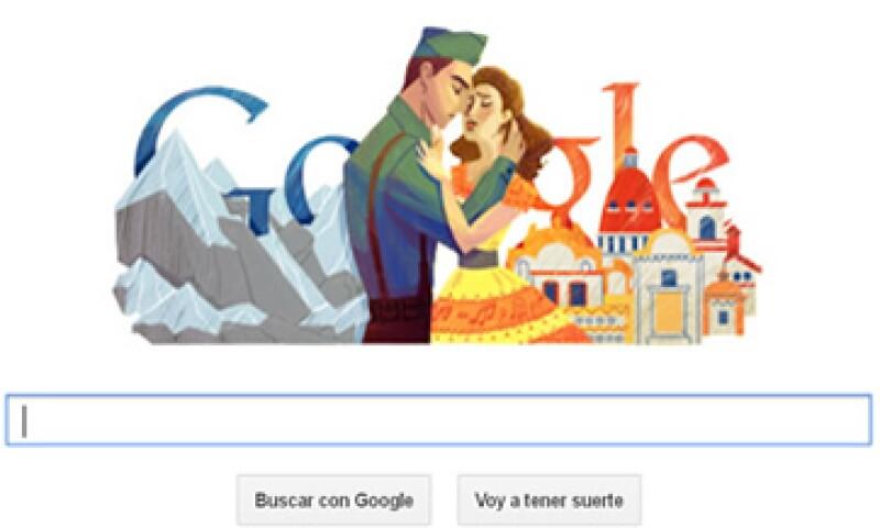 El doodle de este martes muestra a una pareja que está a punto de besarse y al fondo están las letras de Google. (Foto tomada de Google.com)