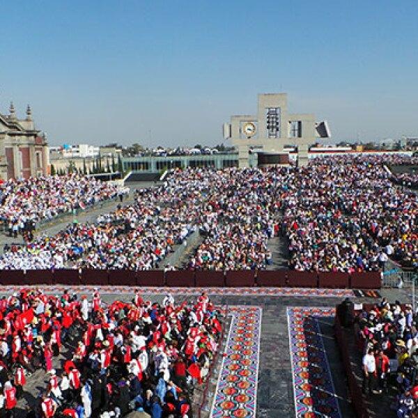 El Papa llegó a la Basílica de Guadalupe.