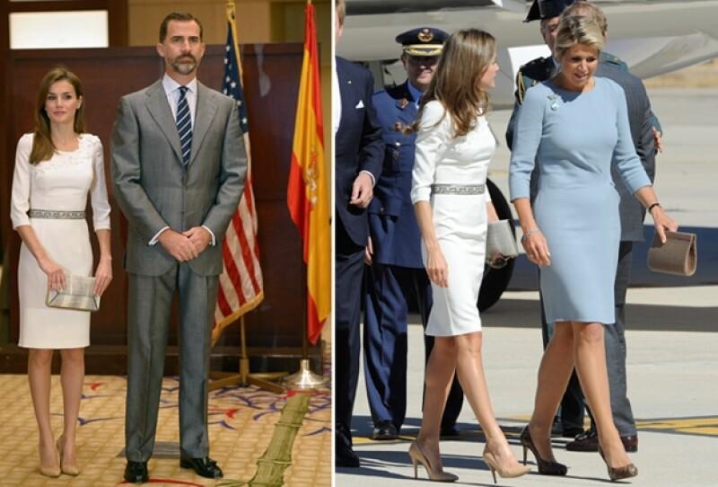 Fue precisamente el 18 de septiembre que Letizia recibió en España a Máxima Zorreguieta con el mismo vestido y accesorios que usó hoy en sus eventos en Miami