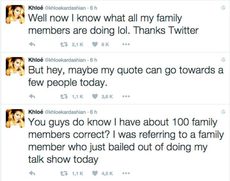 Los tuits en los que Khloé expresaba su molestia no pararon, y aunque intentó explicar el trasfondo de sus tuits, en realidad los fans sacaron sus propias conclusiones.