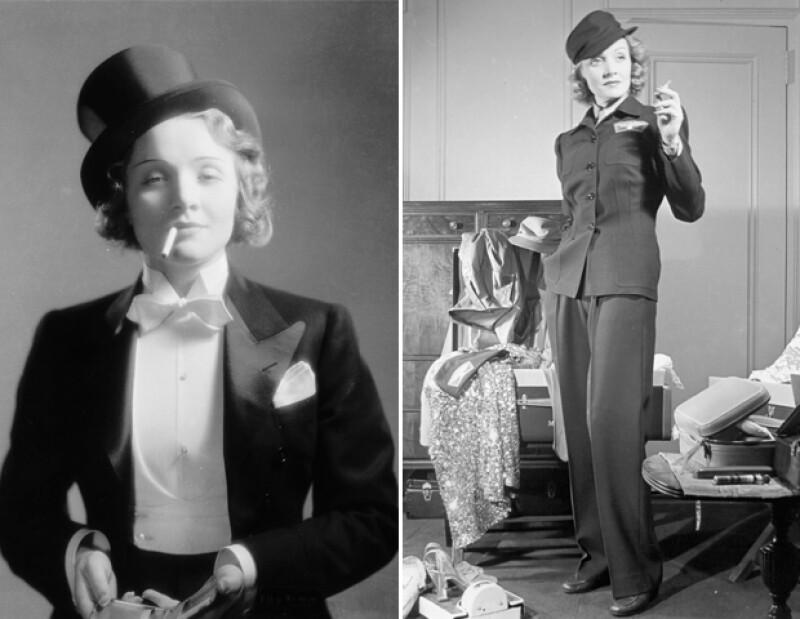 Fanática del look andrógino, Marlene Dietrich fue de las primeras mujeres en usar pantalones.