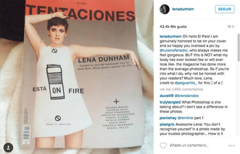 La multifacética artista fue portada para &#39Tentaciones&#39, publicación a la que criticó a través de sus redes sociales por mostrarla más delgada de lo que en realidad es.