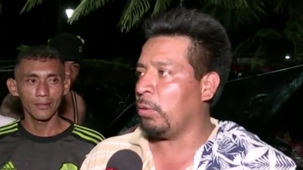 Migrantes hondureños en la caravana agradecen agua y comida