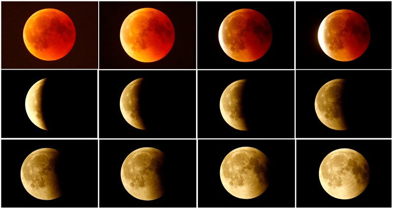 FILE PHOTO: A combination photo shows the lunar eclipse from a blood moon (top L)  back to full moon (bottom right) in the sky over Frankfurt