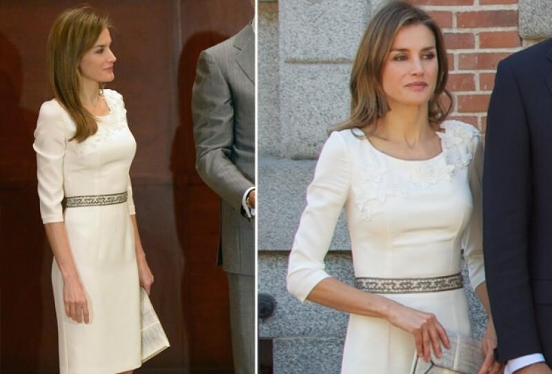 A su paso por norteamerica junto a su esposo el príncipe Felipe, la princesa de Asturias optó por usar un diseño de Felipe Varela que vistió hace dos meses.