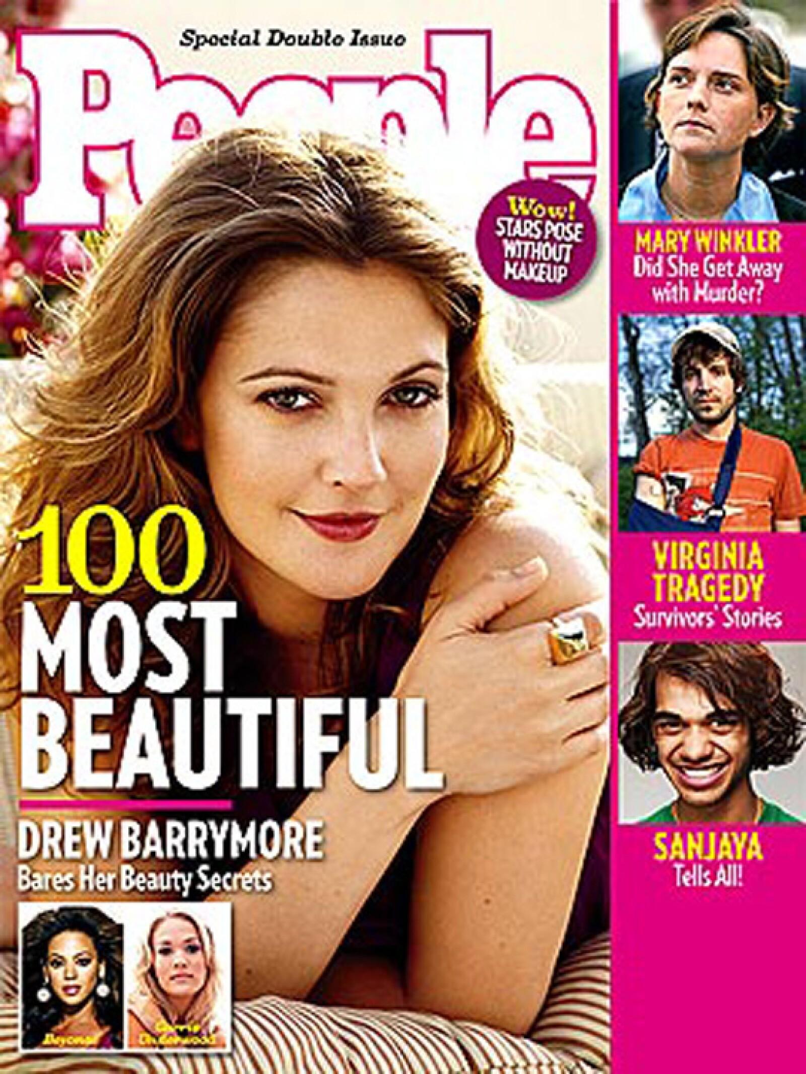 Drew Barrymore, una de las favoritas de la revista fue la más bella del 2007.