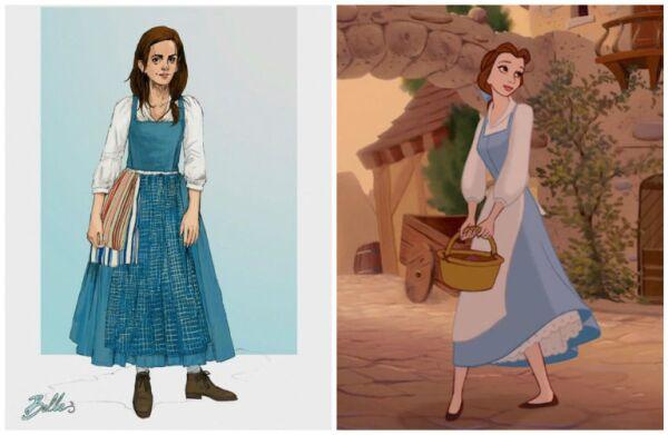 Sketch vestuario Emma Watson como Bella