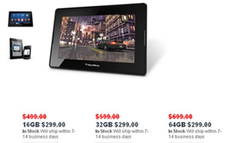 RIM decidió recortar el precio de sus PlayBook de 16, 32 y 64 GB a 299 dólares. (Foto: Especial)