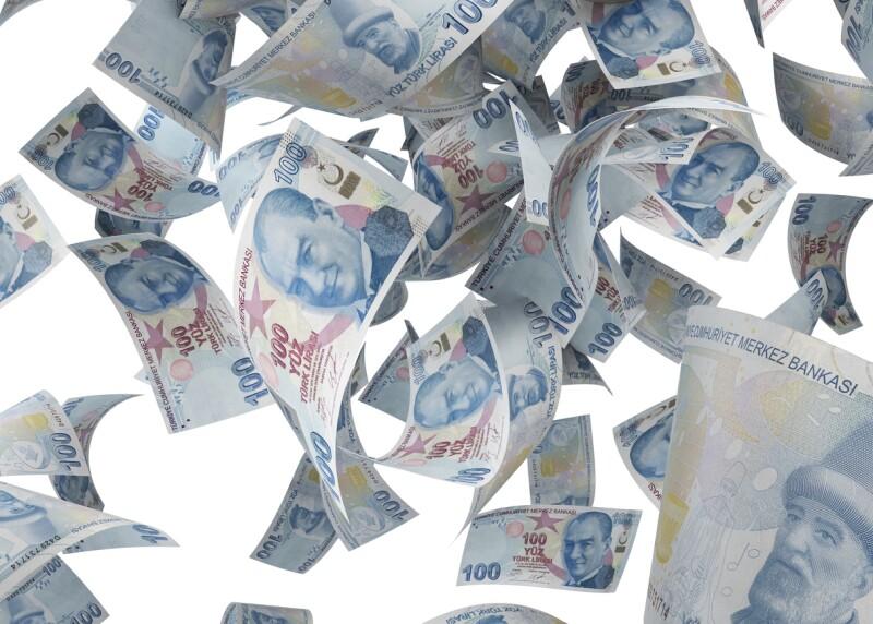 One Hundred Turkish Lira Banknotes Falling On White Background