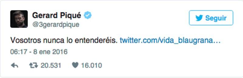 En este tuit, Piqué explica a grosso modo el por qué su declaración al término del partido días atrás.