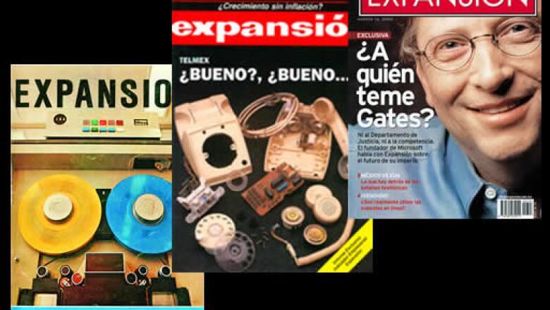 La primera portada se ilustró con la imagen de dos bobinas de una máquina de IBM. Desde entonces Expansión ha tenido como prioridad la innovación de la tecnología, como se ve en estas otras portadas, de 1991 y 2000.