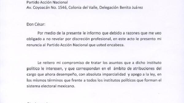 El secretario de Gobernación envió su decisión  al presidente del Comité Ejecutivo Nacional panista, César Nava Vázquez, a través de una carta.