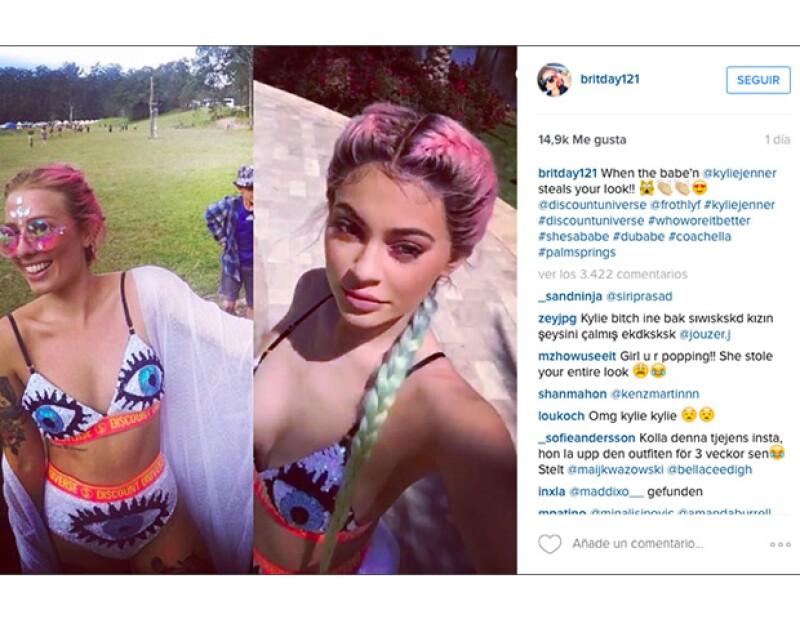 """En su intagram posteó una foto de kylie y ella usando el mismo traje, con el caption : """"Cuando @Kyliejenner te copia el look"""""""