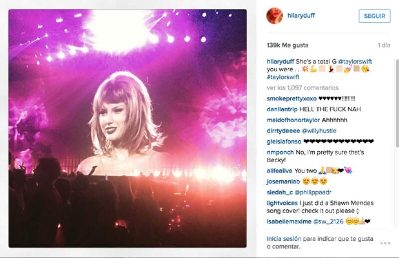 Hilary Duff, al igual que Salma, también mostró lo bien que la había pasado y lo impresionada que estaba por Taylor.