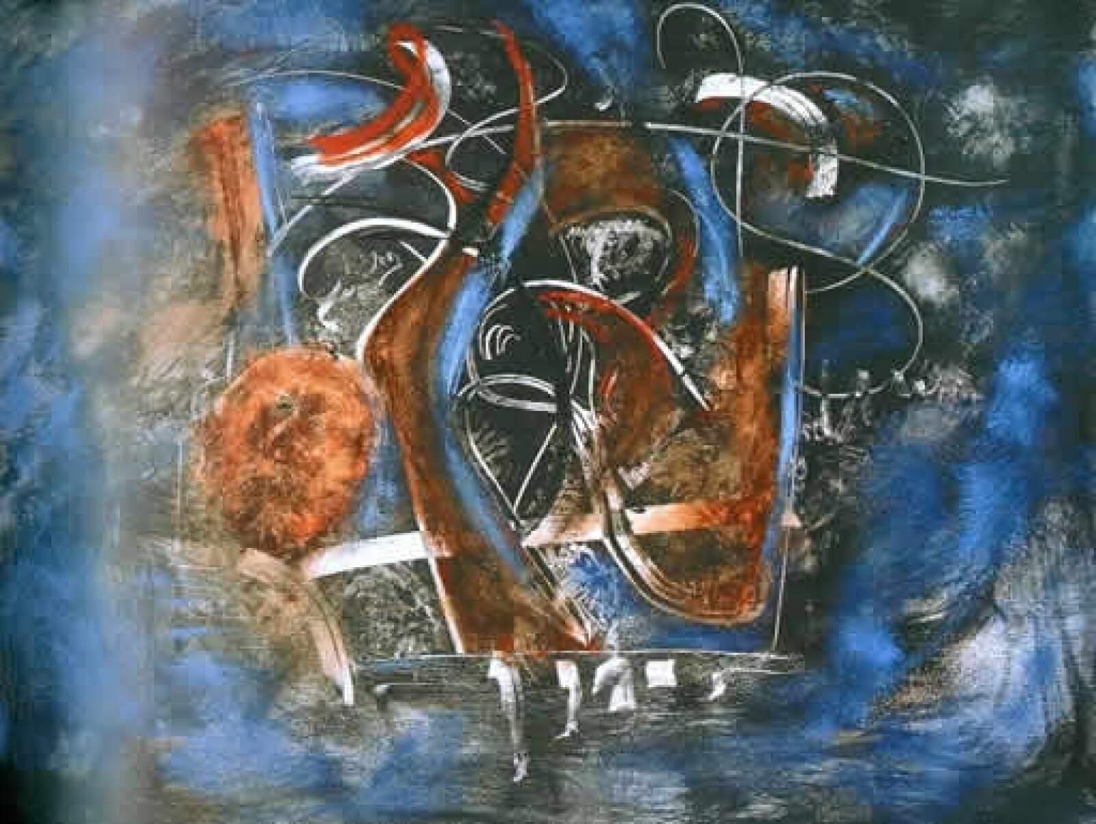 """Según el filósofo y crítico de arte Luis Ramaggio, Martí es un pintor comprometido con su oficio"""". """"Embrujo en azul"""", 2004, acrílico sobre tela, 1.20 x 1.50 m"""
