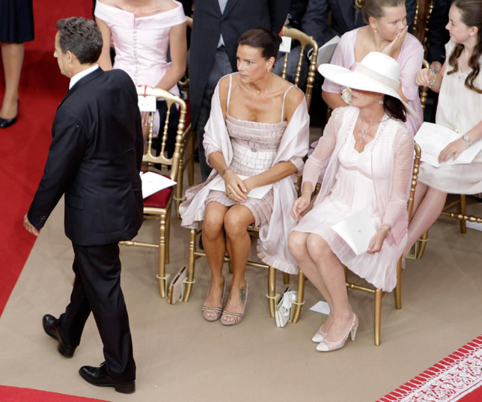 Nicolás Sarkozy, Estefanía y Carolina de Mónaco.