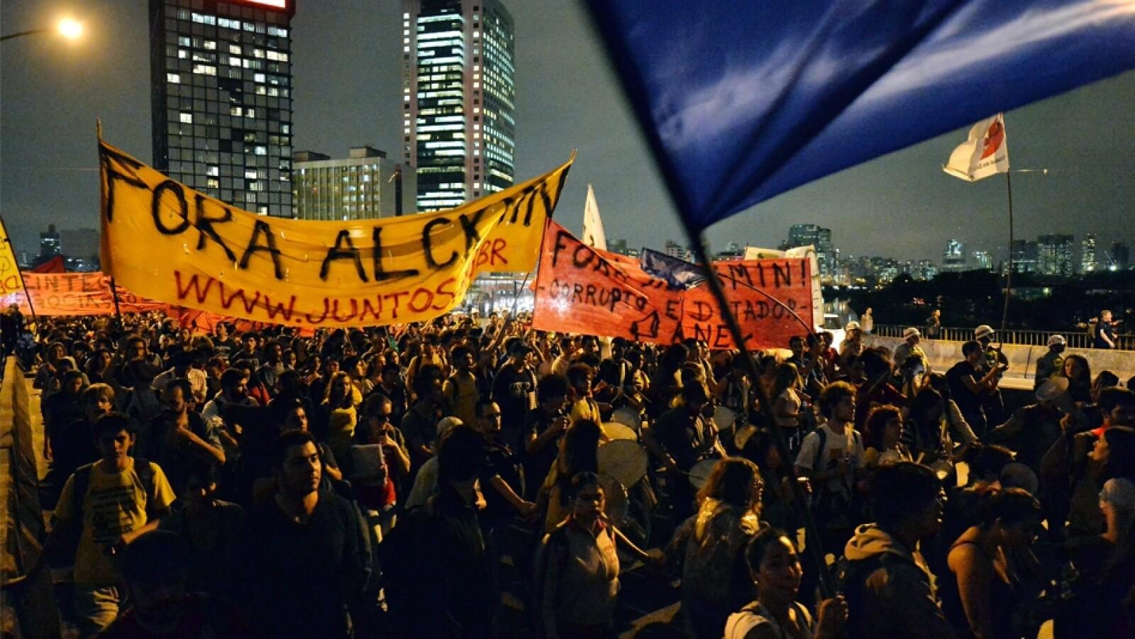 vista de manifestantes