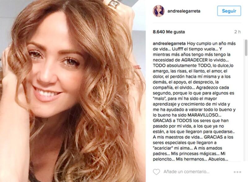 b6f896e1e1 La conductora publicó en Instagram un mensaje en el que agradece a todos y  todo,