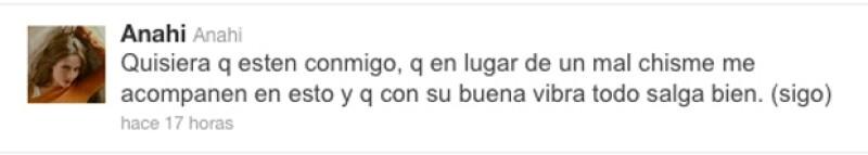 Anahí pidió el apoyo de sus fans para cuando vuelva a pisar el quirófano.