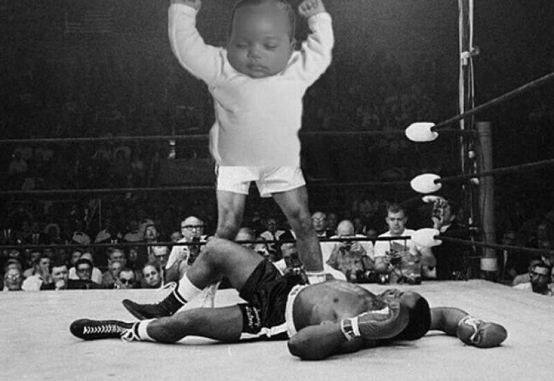 `Noqueando` a un luchador en el ring.