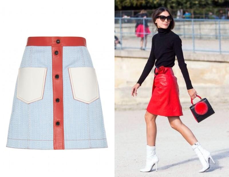 Una falda atrevida como la de Fendi, se verá mejor con un top liso.