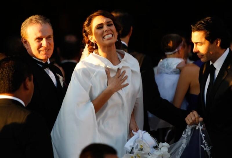 La actriz lucía radiante y feliz.
