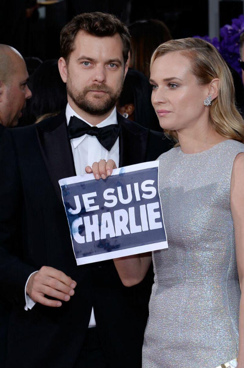 Actores como George Clooney, Kathy Bates y Joshua Jackson aprovecharon la entrega de premios para apoyar la campaña mediática que comenzó a raíz de los recientes sucesos en París.