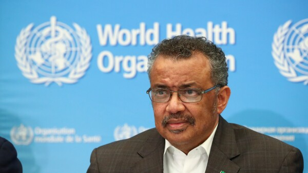 Director-General of the WHO Tedros Adhanom speaks during a news conference in Geneva