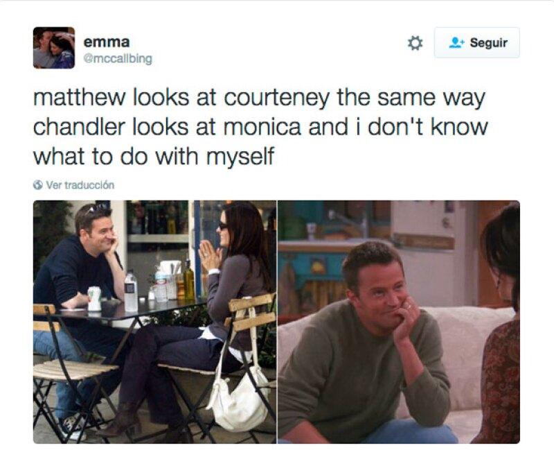 """Los fans tanto de la serie como de la pareja se han mostrado muy emocionados con la supuesta noticia, e incluso una fan publicó este tuit en el que daba """"evidencia"""" del afecto que Mat siente por Courteney."""