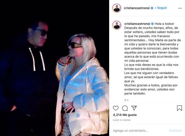 Cristian Castro and his new girlfriend, Maite