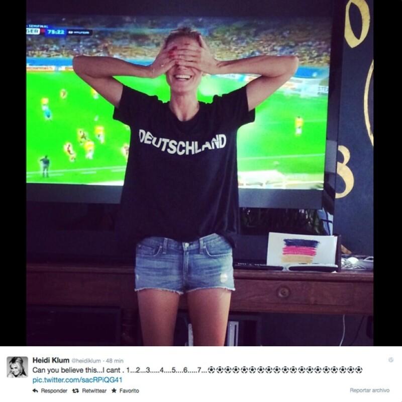 Luego de la aplastante victoria de su selección sobre la anfitriona del Mundial 2014, la supermodelo no pudo contener su emoción y la compartió en Twitter.