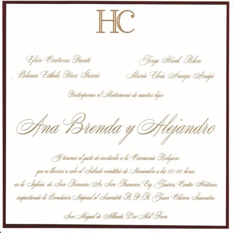 Invitación a la boda de Ana Brenda y Alejandro.