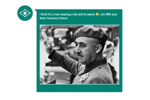 CaptionBot dice que está 99% seguro de que se trata de Francisco Franco.