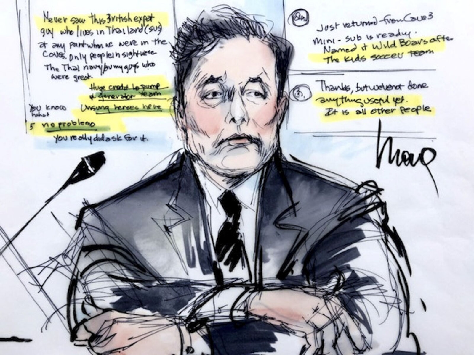 """Courtroom sketch shows Elon Musk during the trial in a defamation case filed by British cave diver Vernon Unsworth, who is suing the Tesla chief executive for calling him a """"pedo guy"""" in one of a series of tweets, in Los Angeles"""