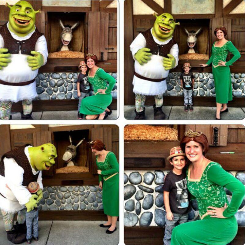 El pequeño Iam disfrutó al conocer a personajes como Shrek y Fiona en Universal Studios.