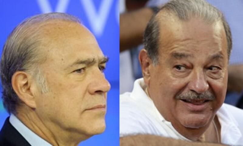 Carlos Slim (der) criticó el estudio realizado por el organismo que dirige el ex secretario de Hacienda José Ángel Gurría (izq). (Foto: Especial)