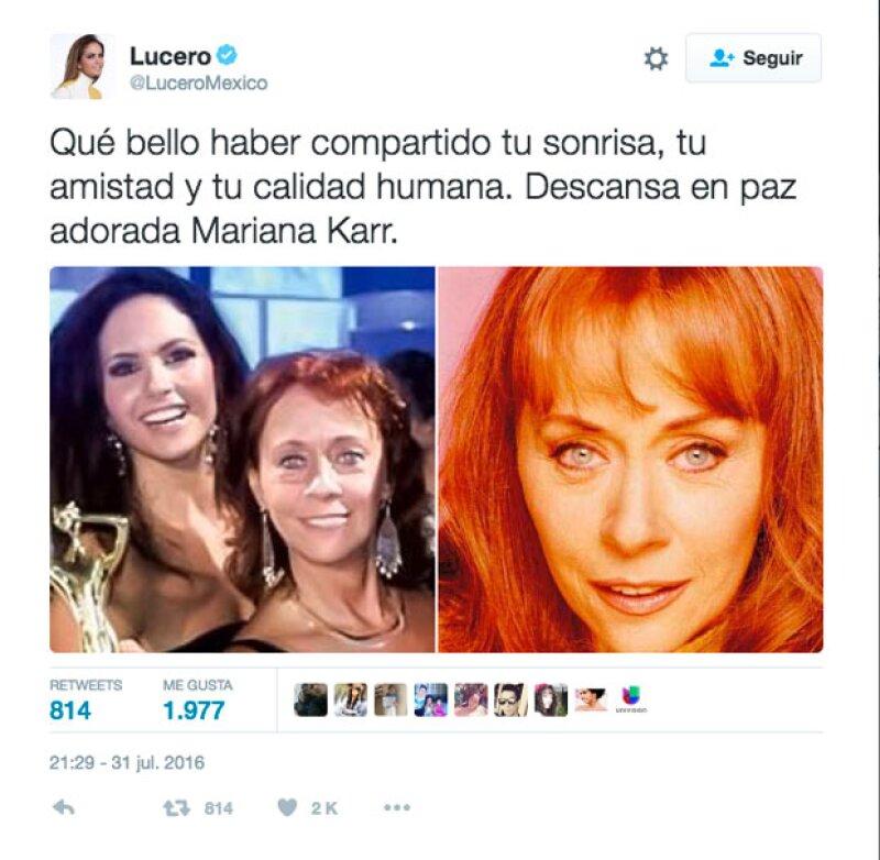 Lucero no perdió oportunidad de enviar un sentido mensaje a su fallecida compañera de set.