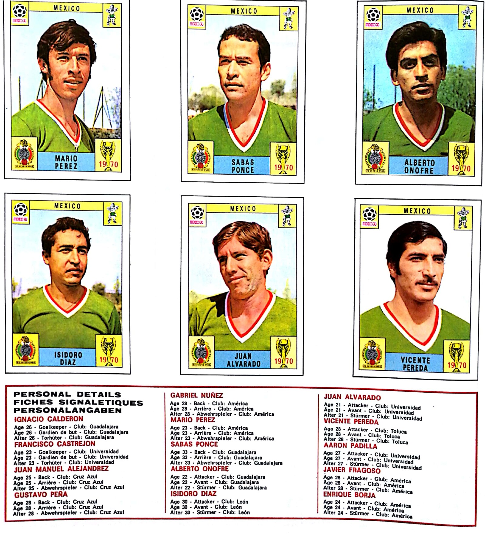 México 1970 álbum Panini