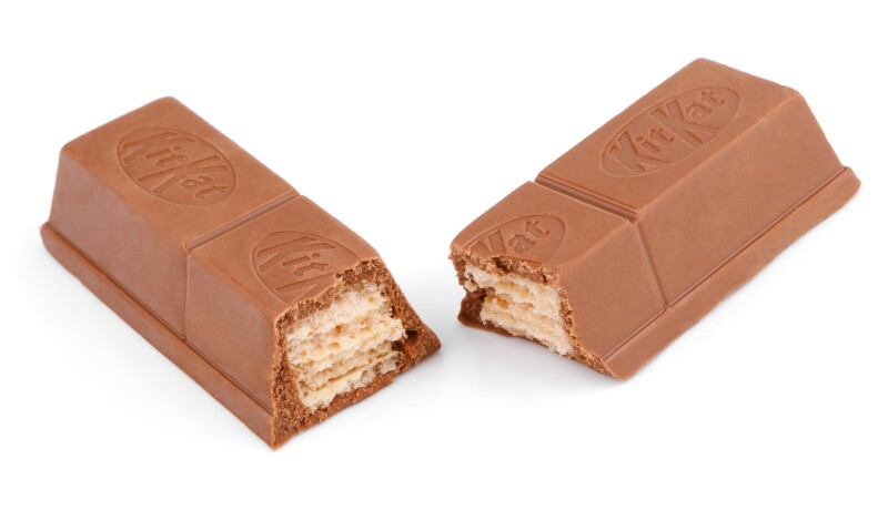 Closeup of Kit Kat candy chocolate bar