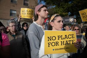 PITTSBURGH, PA - OCT 30:  People join a solidarity march  in re