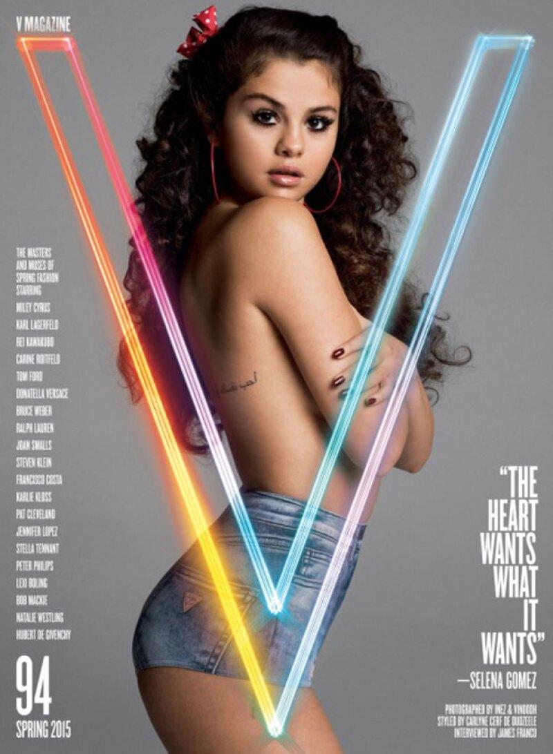 Con nada más que unos shorts de mezclilla, la cantante muestra su lado más sexy y habla sobre su relación con Justin Bieber para el nuevo número de V Magazine.