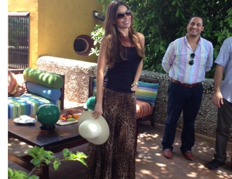 La famosa actriz y modelo colombiana se hospedó en la Hacienda Puerta Campeche, con ella viajaban, su novio Nick Loeb y su hijo Manolo.