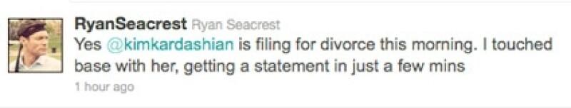 Ryan Seacrest afirma que sí es un hecho que Kim solicitó el divorcio.