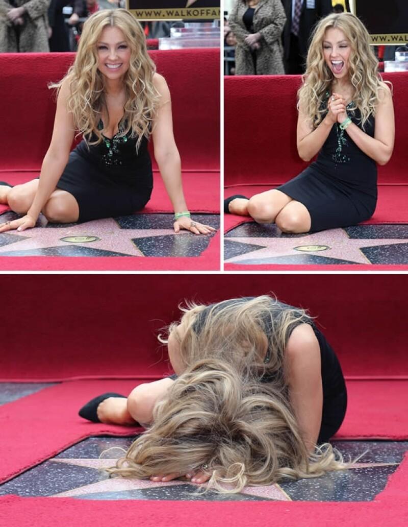 La estrella de Thalía está afuera del Hotel W Hollywood, a una cuadra de la calle Vine.