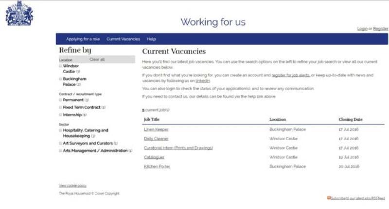 Estos son los puestos de trabajo que la Casa Real británica está buscando.