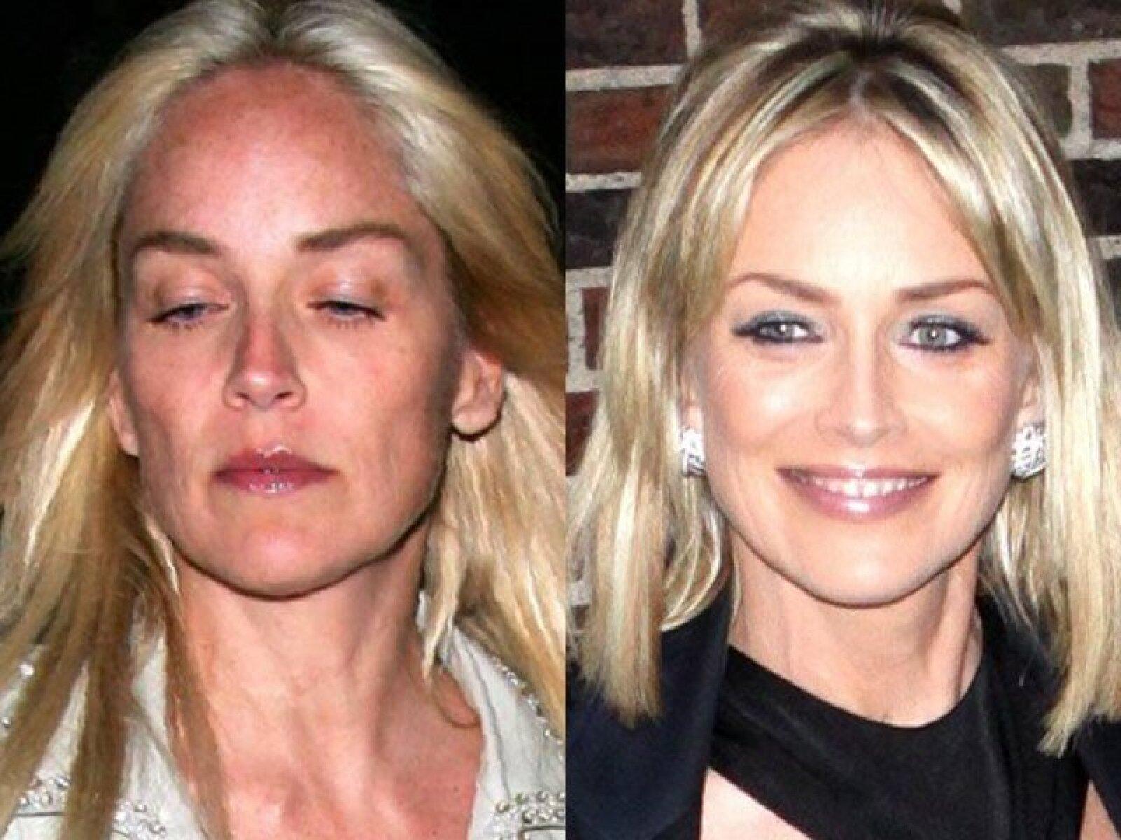 Otra que también necesita mucho de una buena maquillada es Sharon Stone, quien al natural hasta las pecas de la vejez se le ven.