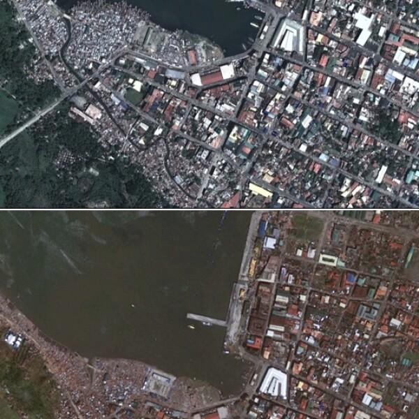 tacloban, satélite, antes y depues, haiyan
