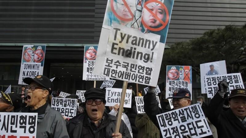 Protestas contra Corea del Norte en Seul