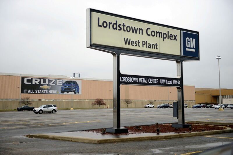 FILE PHOTO: A view of the entrance to the West Plant of the General Motors Lordstown Complex assembly plant in Warren