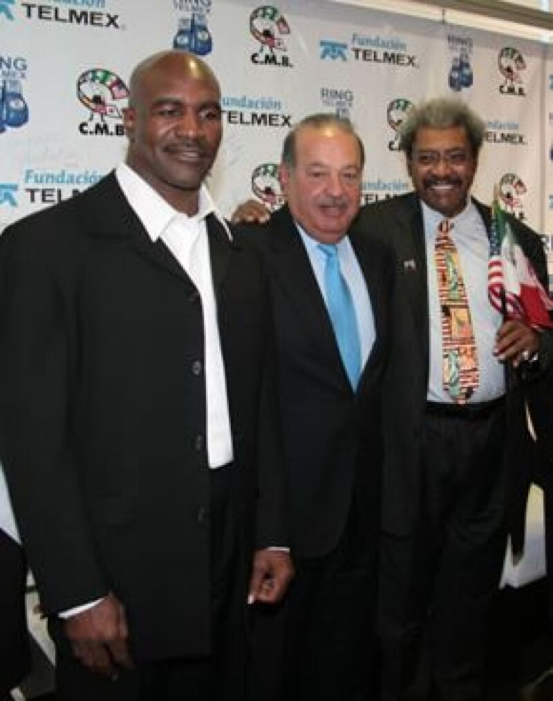 Evander Holyfield, Carlos Slim y Don King.